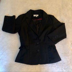 3/4 Sleeve Ruffle Detail Black Blazer